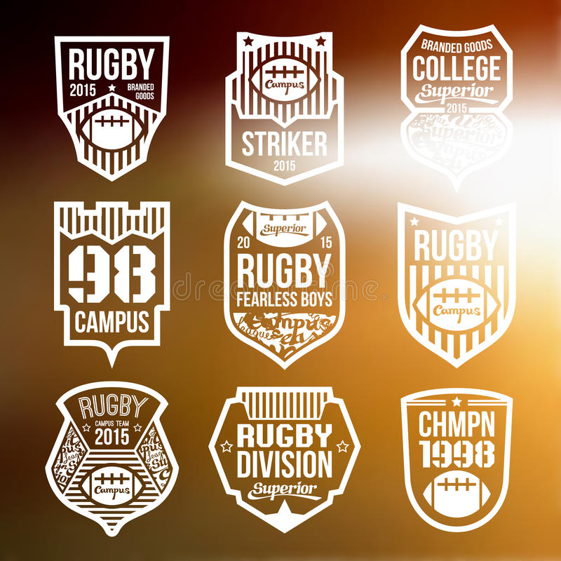 College rugby team emblems. In flat style. White print on a blurred background vector illustration