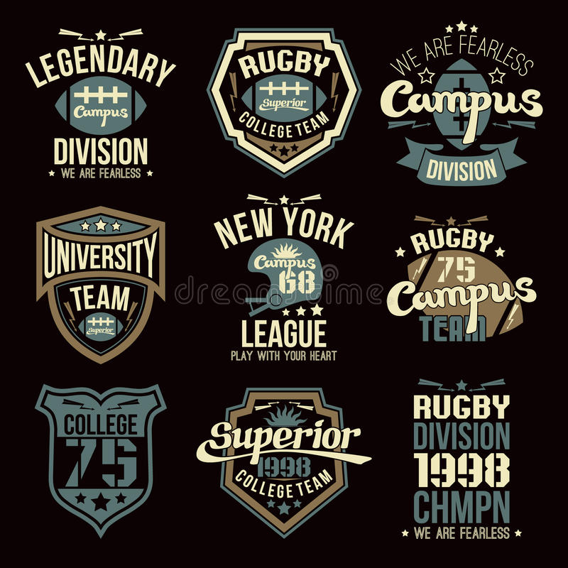 College rugby team emblems. Graphic design for t-shirt royalty free illustration