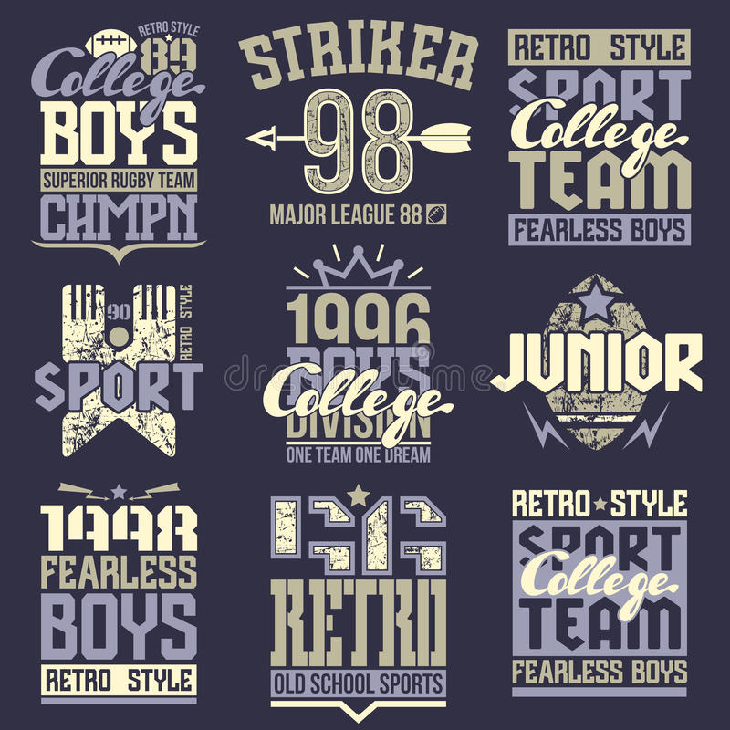 College rugby team emblems. In retro style. Trendy graphic design for t-shirt. Color print on a dark background royalty free illustration
