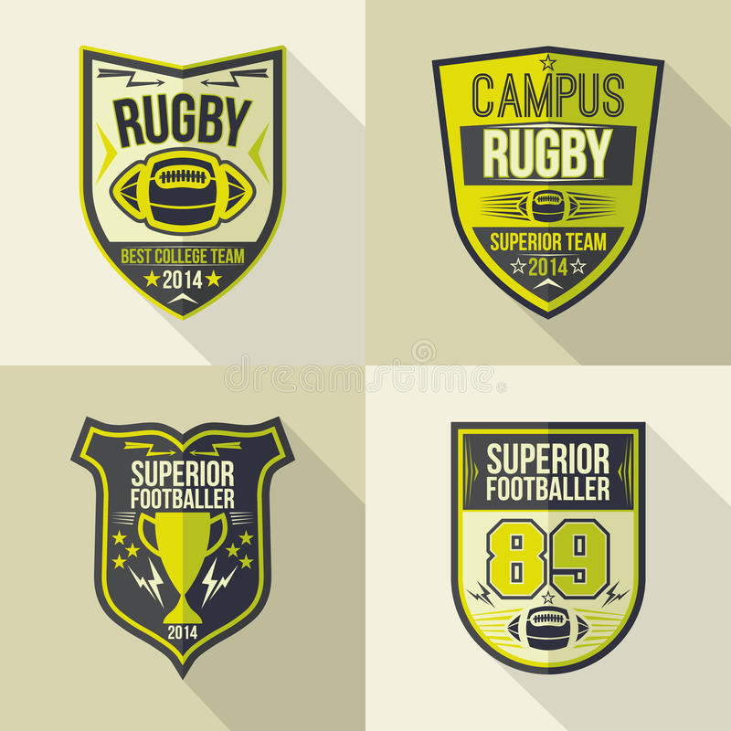 College rugby team emblems. Set of emblems rugby team in flat style vector illustration