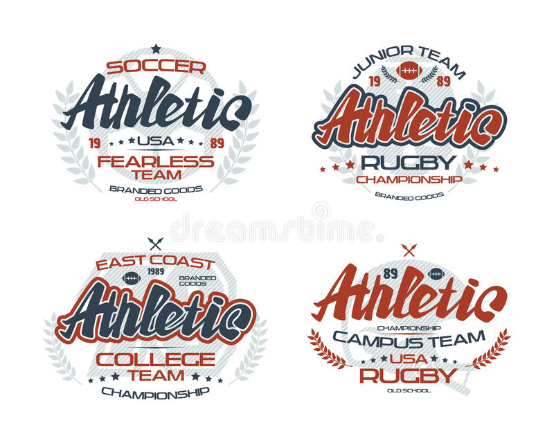 College rugby team emblems. College rugby and soccer team emblems for t-shirt. Color print on white background royalty free illustration