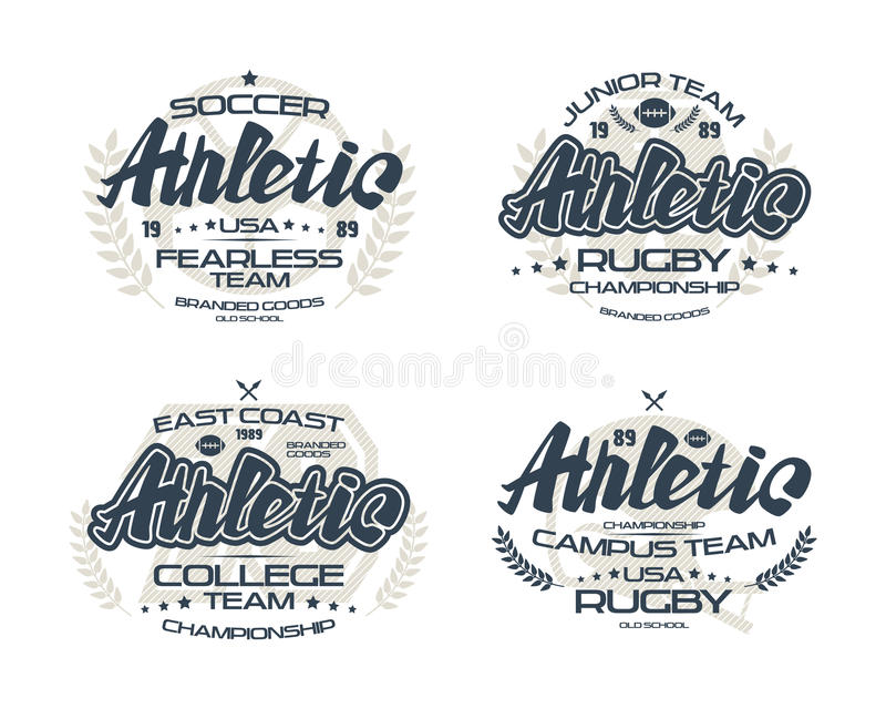 College rugby team emblems. College rugby and soccer team emblems for t-shirt. Print on white background vector illustration