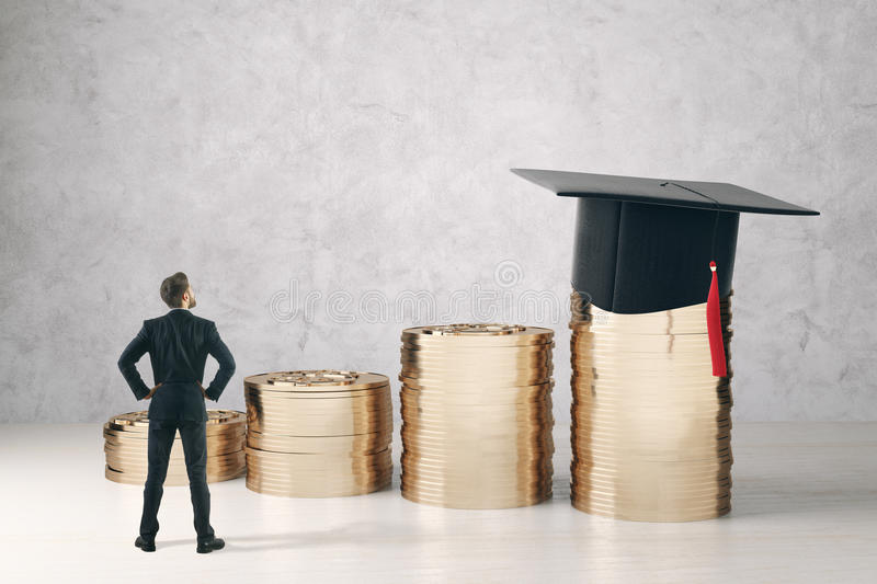 College savings concept. Back view of businessman looking at golden coin piles with mortarboard on concrete background. College savings concept. 3D Rendering stock illustration