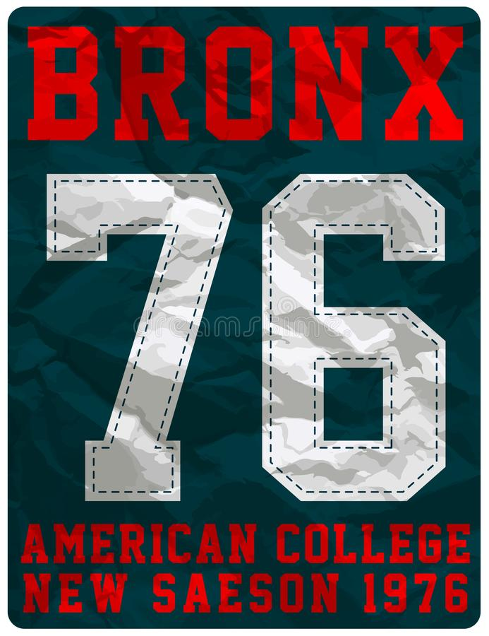 College sport typography, t-shirt graphics, vectors vector illustration