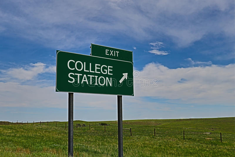 College Station. US Highway Exit Sign for College Station HDR Image stock photos