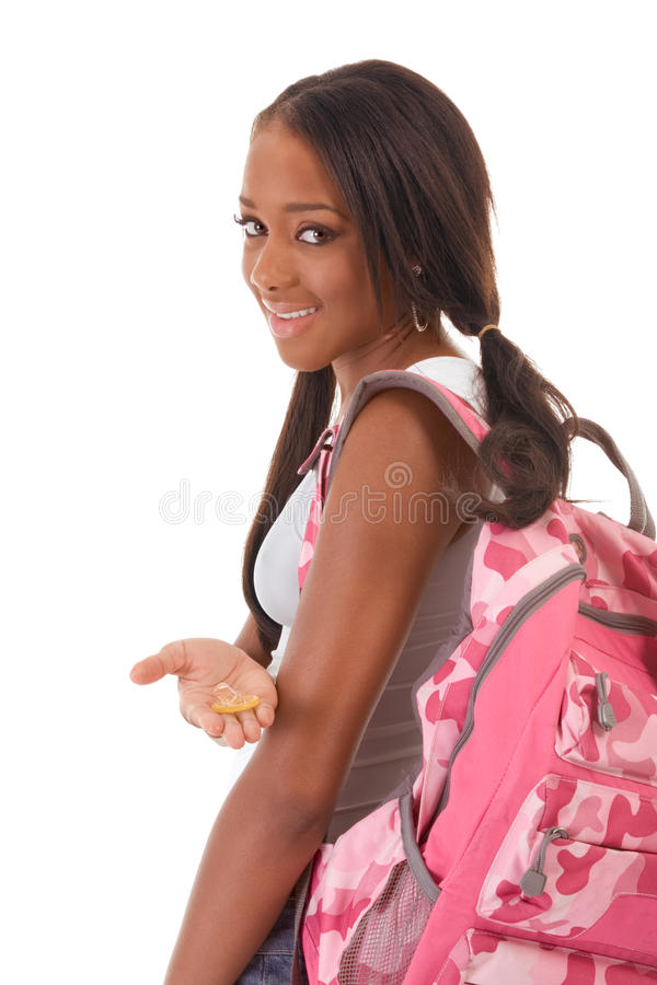 College student African American woman with condom stock images