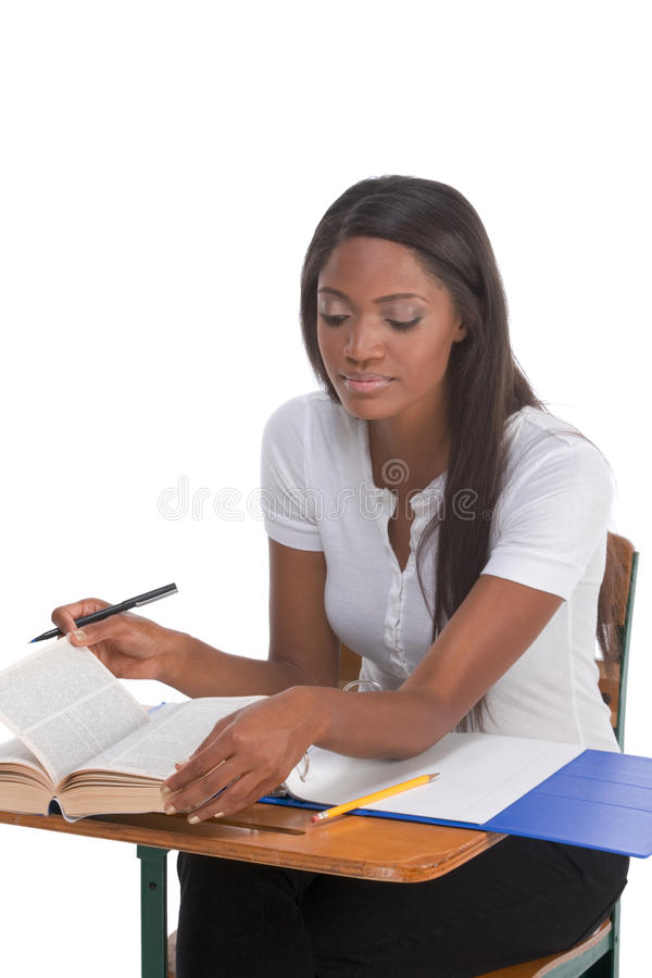 College Student African American Woman By Desk Stock Photos