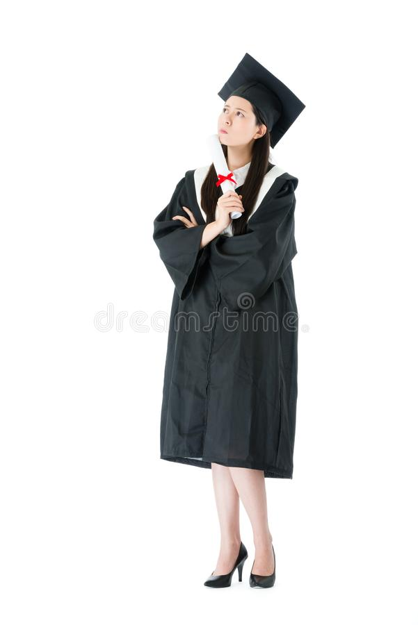 College student girl standing on white background royalty free stock image