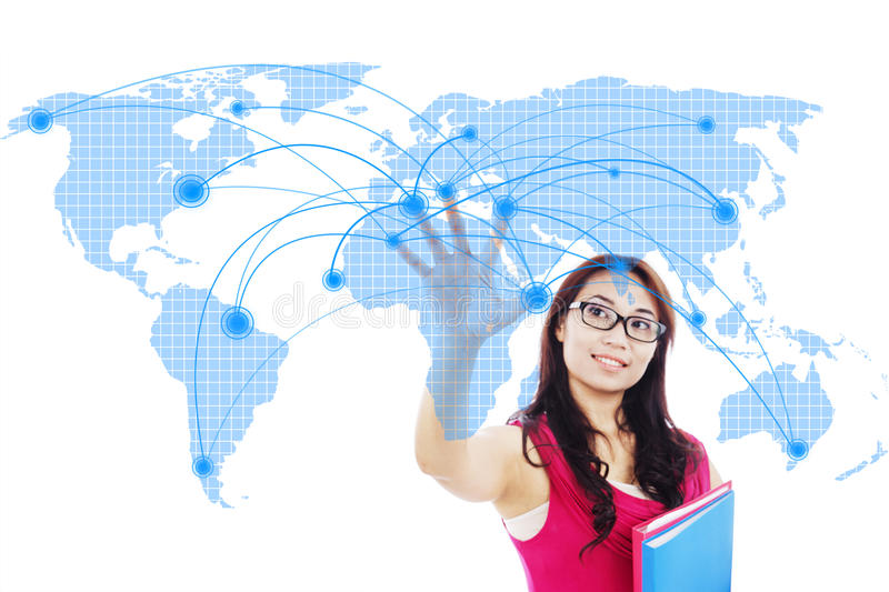 College student global networking stock photo