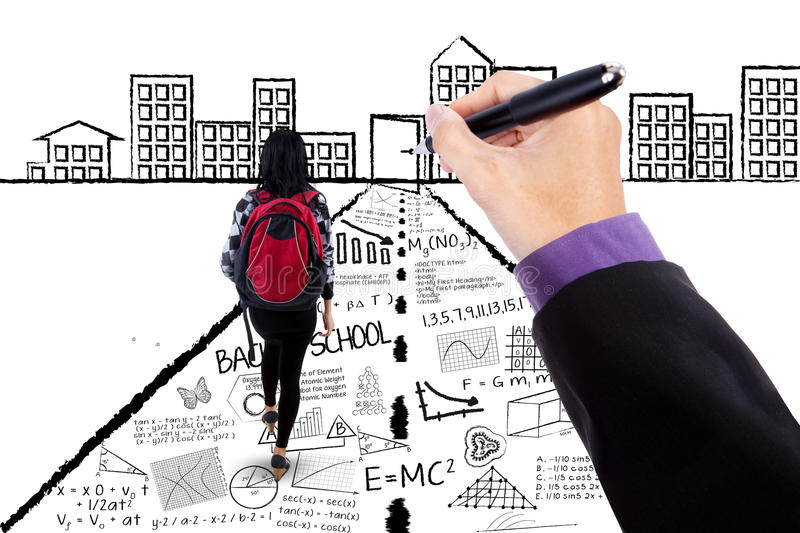College student with hand draw doodles royalty free stock photos