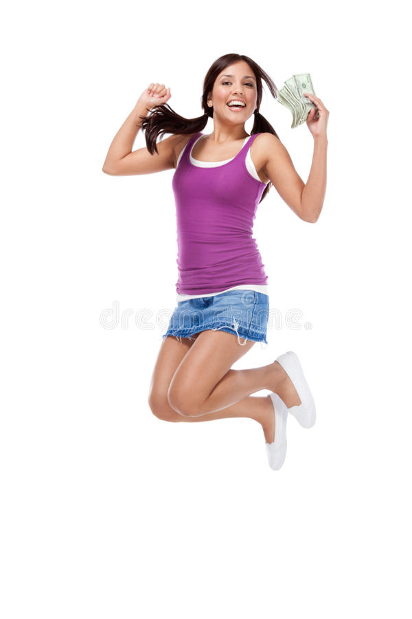 College student Hispanic teen with womey jumping royalty free stock photos