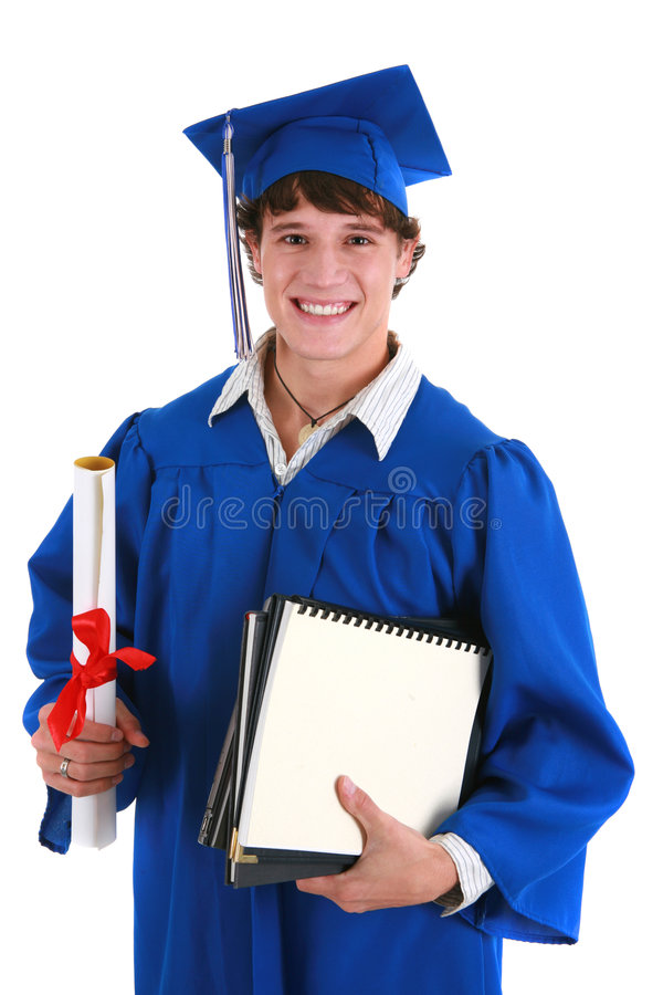 College Student Holding Graduation Certificate Stock Photo