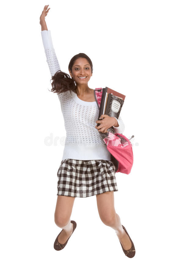 College student Indian teen with backpack jumping