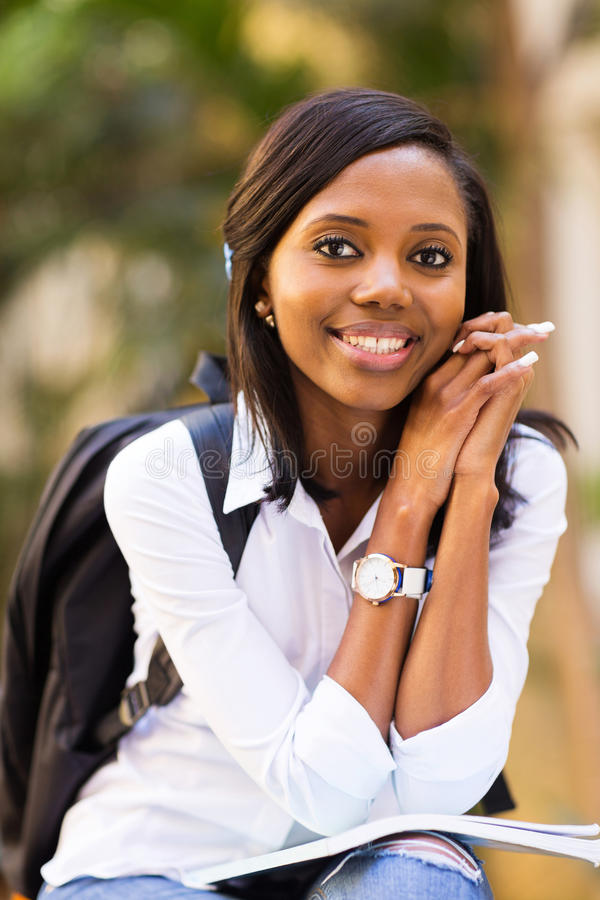 College student outside campus stock image