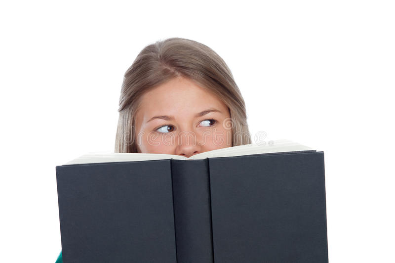 College student reading a book royalty free stock photos