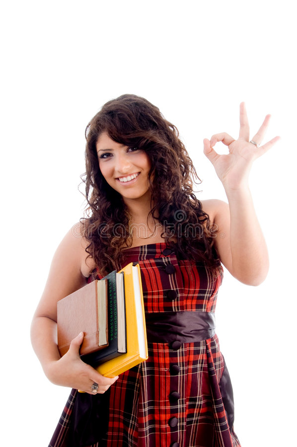 College Student Showing Ok Sign Stock Image