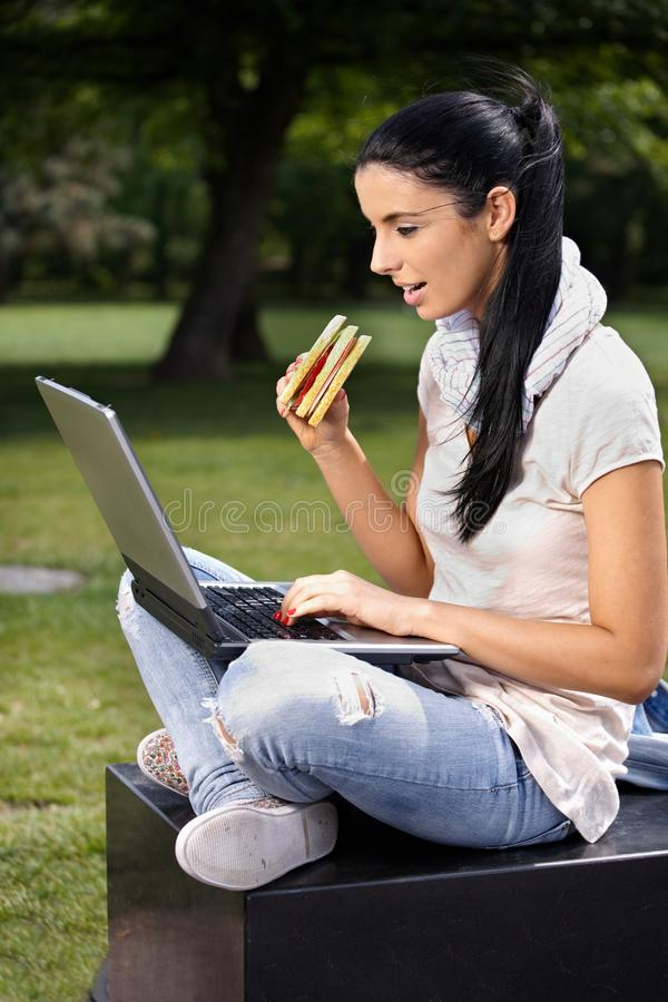 Download College Student Using Laptop In Park Having Lunch Stock Photo - Image: 21344928