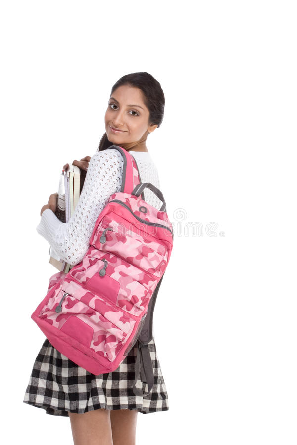College Student Young Indian Woman With Backpack Royalty Free Stock Photo