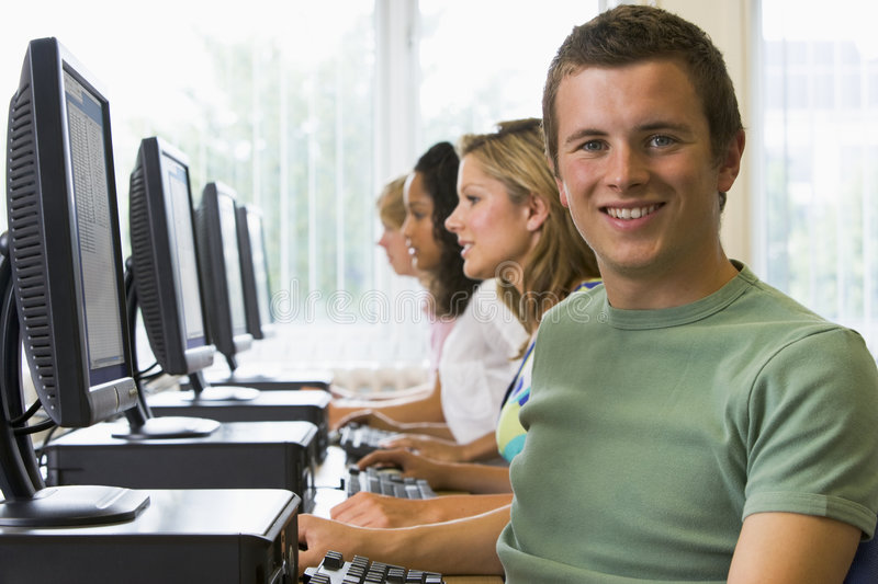 College students in a computer lab.  stock photography