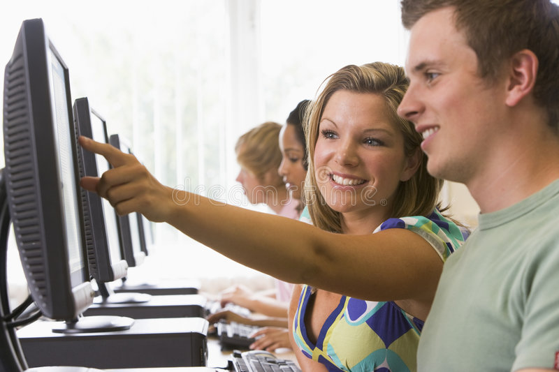 College students in a computer lab.  royalty free stock photo