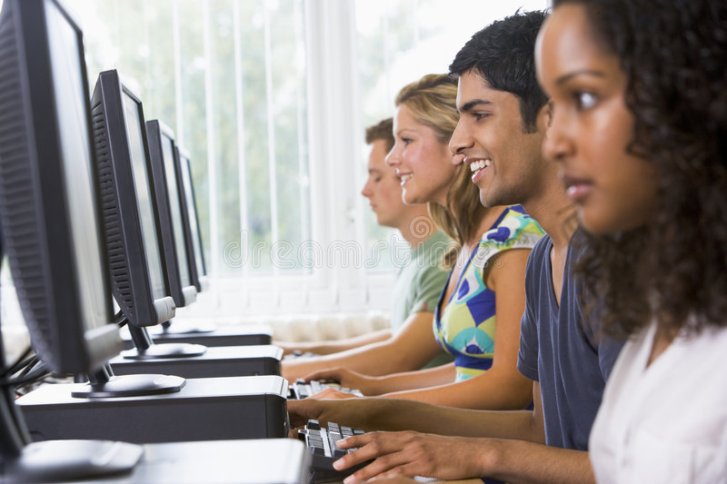 Download College Students In A Computer Lab Stock Photo - Image: 5949314