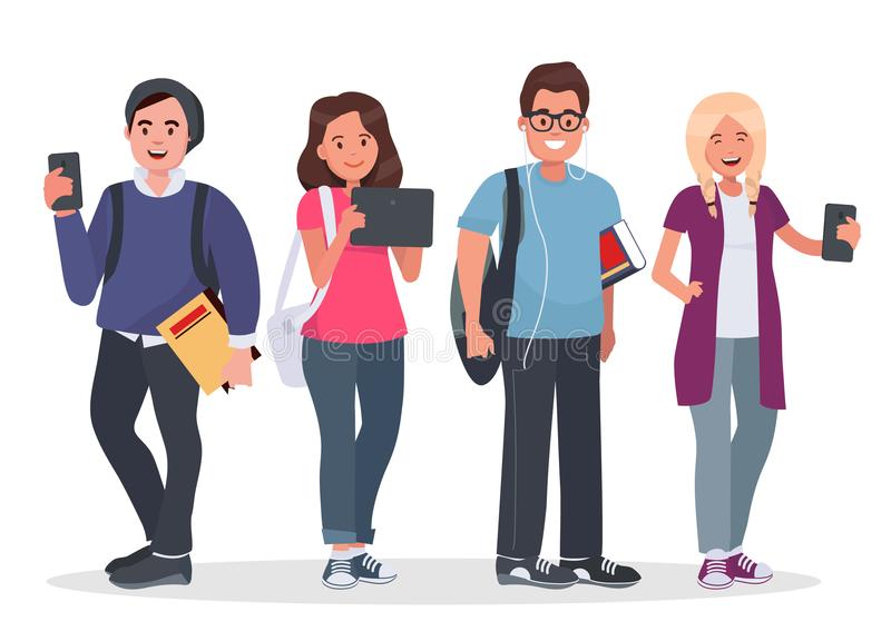 College students concept illustration. Young people with gadgets and backpacks. Modern teenagers with tablet and smartphones on white background stock illustration