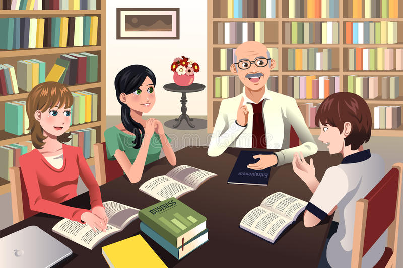 College students having a discussion with their professor royalty free illustration
