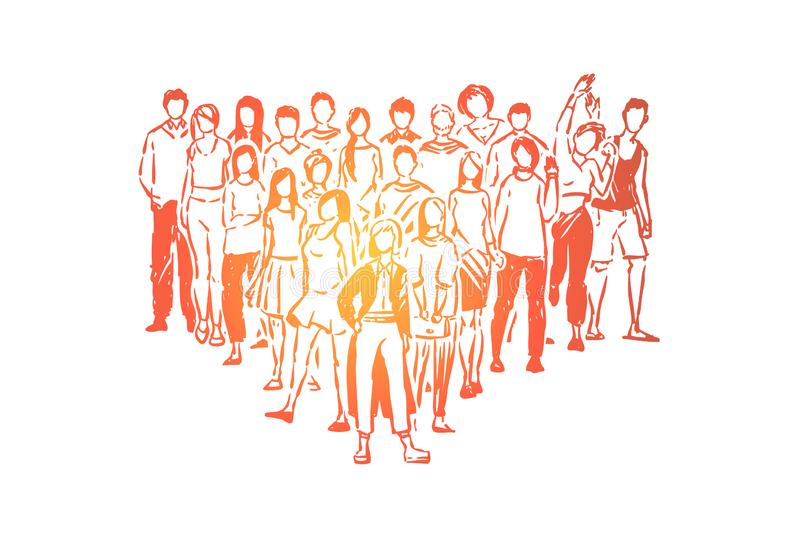 College students, high school pupils, boys and girls posing for group photo, teenagers standing together vector illustration