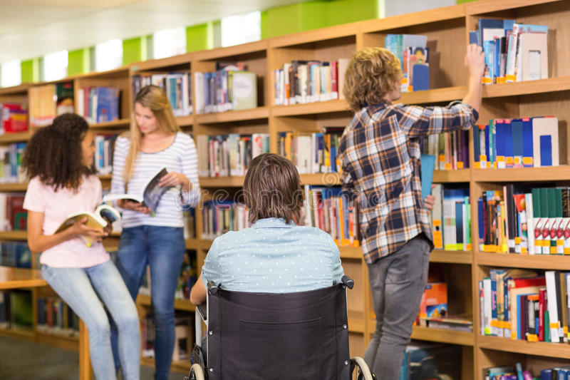 College students in library stock photo