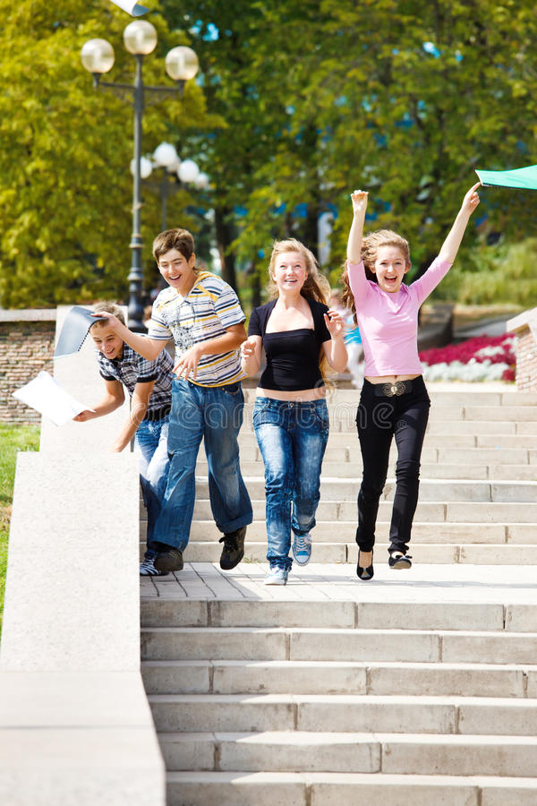 College students running stock photos