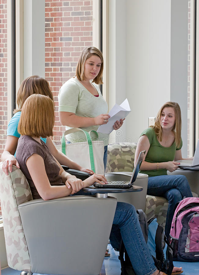 College Students Studying. Group of Four College Students Studying stock photos