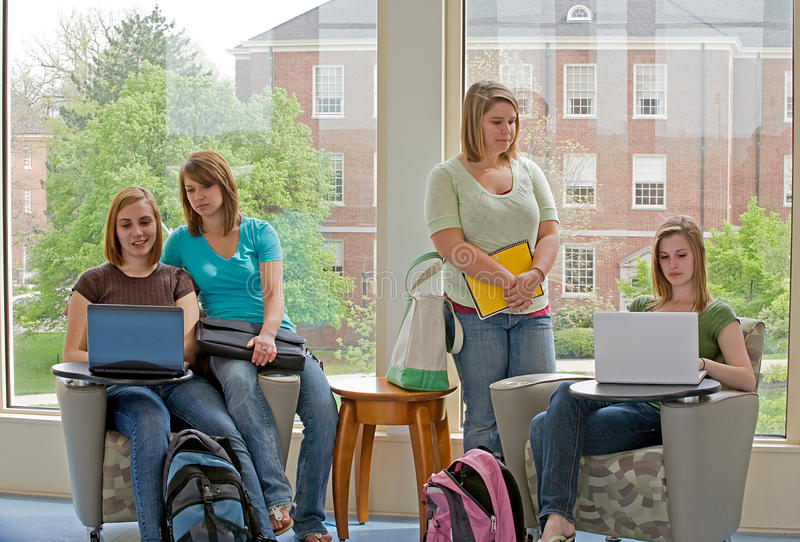 College Students Studying. Group of Four College Students Studying stock photography