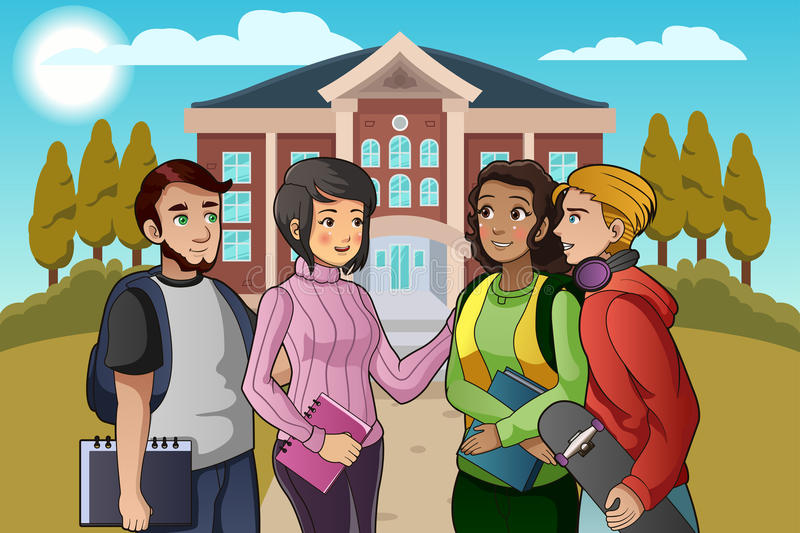 College Students Talking on Campus. A vector illustration of college students talking on campus royalty free illustration