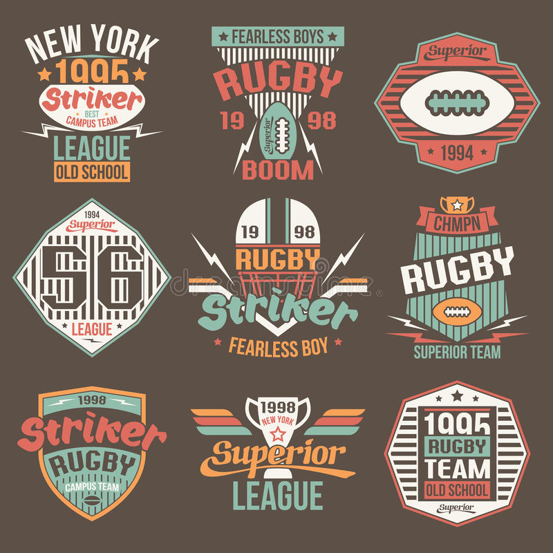 College team American football retro vintage emblems. Graphic design for t-shirt. Color print on a brown background stock illustration