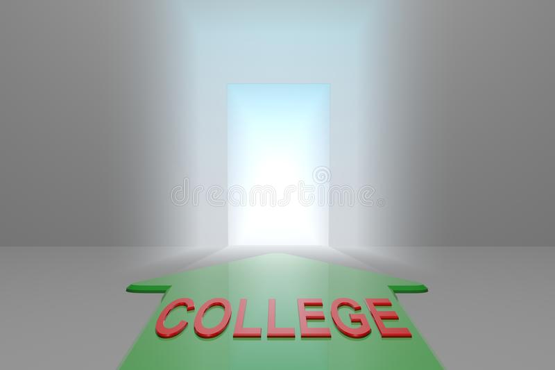 College to the open gate. Green arrow with college word front of the open gate , 3d rendered vector illustration
