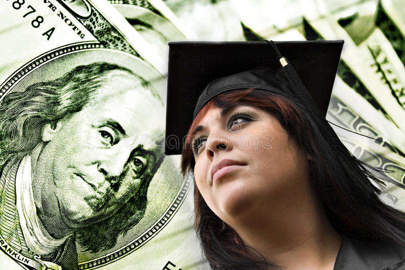 College Tuition Expenses. A closeup of a female graduate in her cap and gown in front of a money background. Great conceptual image for scholarships college stock photos