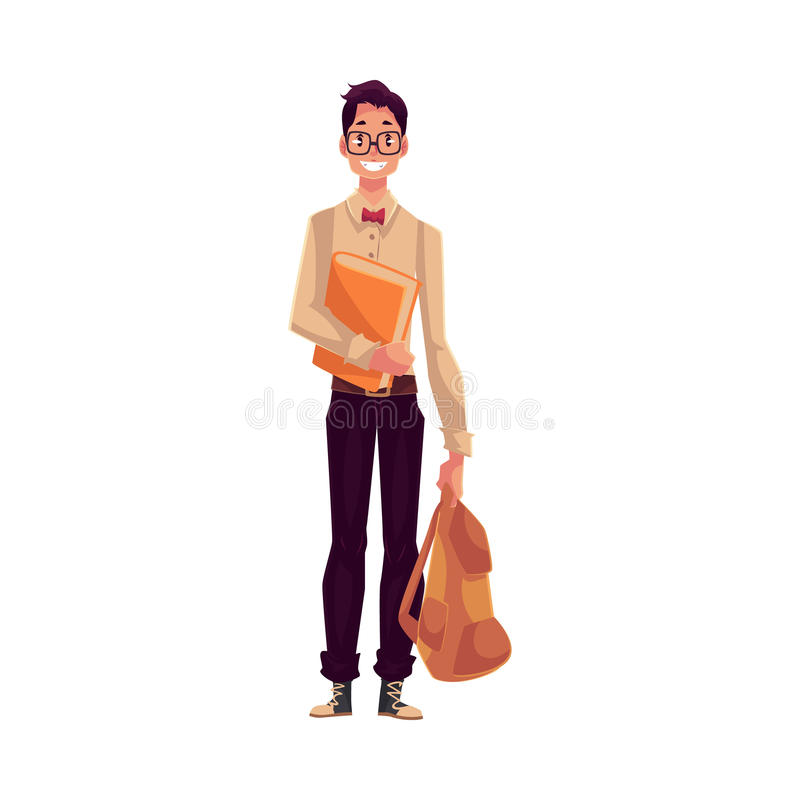 College, university student, geek in square glasses holding backpack. Cartoon style illustration isolated on white background. Male student with books and royalty free illustration
