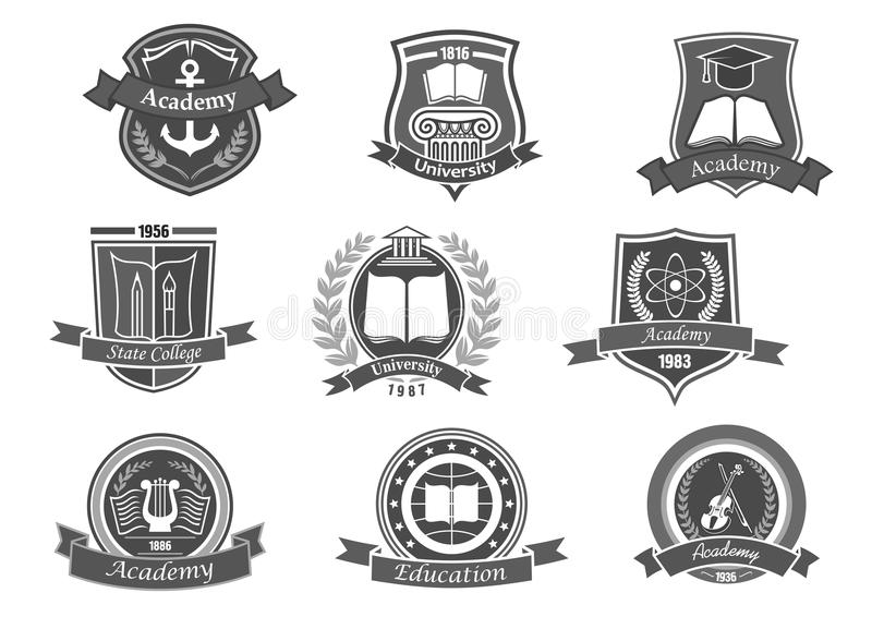 College or university vector icons or emblems set. University and academy vector icons. Emblems or shields set for high school education graduates in maritime stock illustration