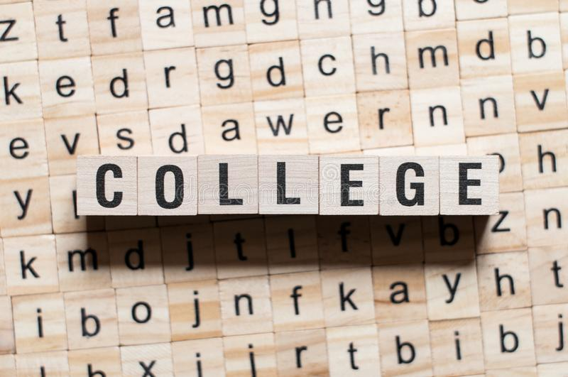 College word concept. On cubes stock photo
