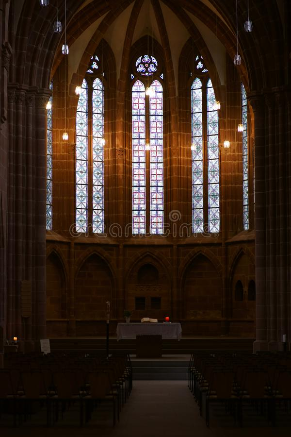 Collegekirche von St Martin und von St. Mary Kaiserslautern stockbilder
