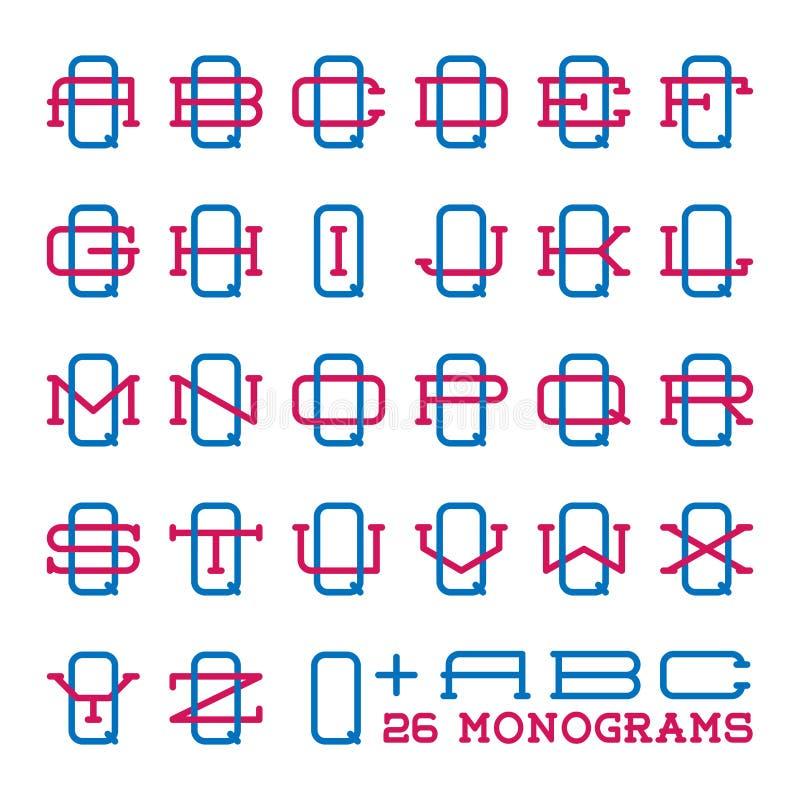 Collegesportteam-Logosatz Monogramm mit zwei Buchstaben vektor abbildung