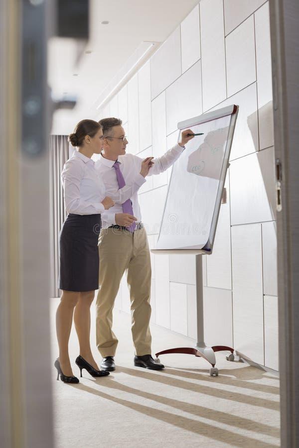 Colleghi di affari che preparano per la presentazione in ufficio immagini stock