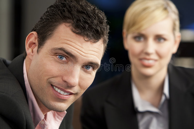 Colleghi felici di affari immagini stock