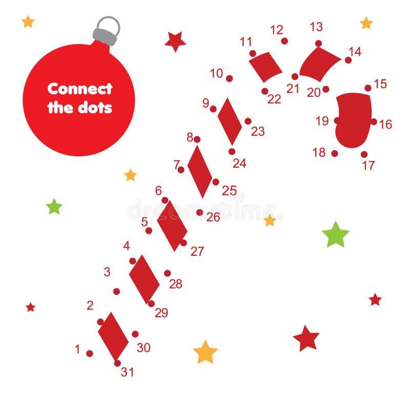 Colleghi i punti dal gioco educativo dei bambini di numeri Tema del nuovo anno, bastoncino di zucchero di Natale royalty illustrazione gratis