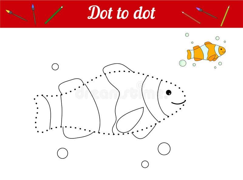 Colleghi i punti e colori l'immagine Pagliaccio Fish Gioco educativo per i bambini Personaggio nascosto ritrovamento Pagina da co royalty illustrazione gratis