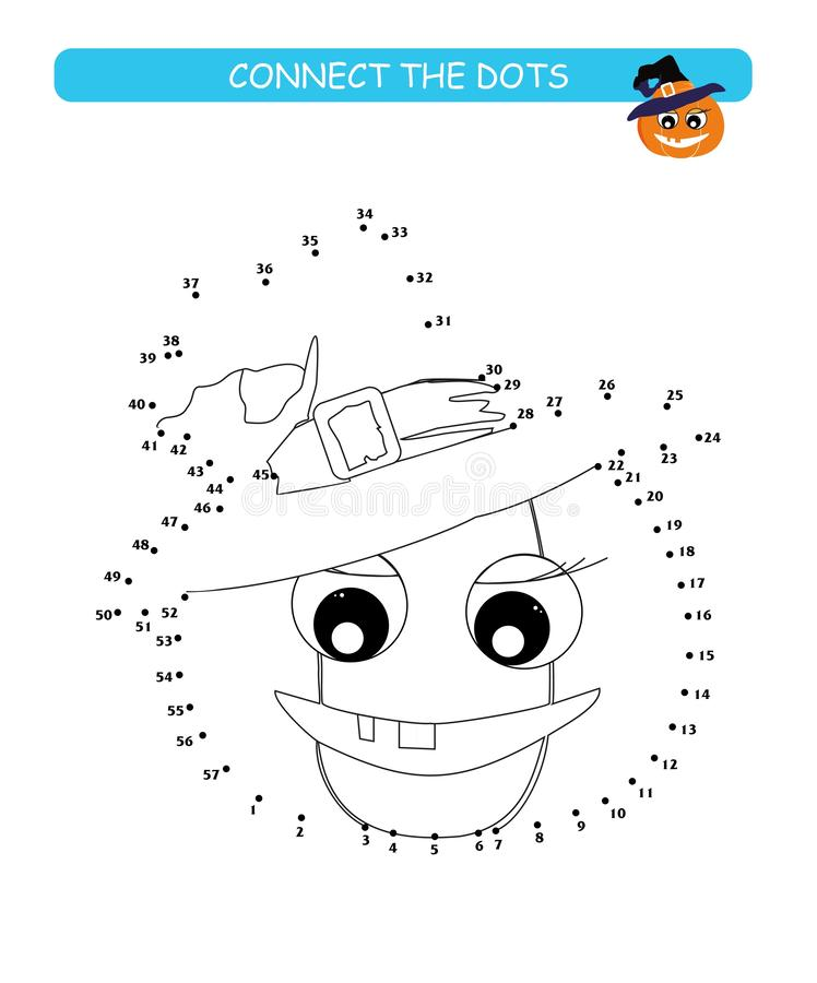 Colleghi i punti e colori Zucca sveglia Illustrazione di vettore del fumetto del gioco educativo illustrazione vettoriale