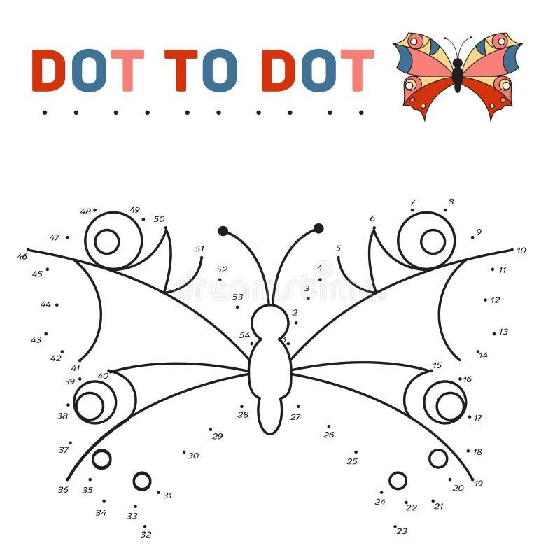 Colleghi i punti e dipinga una farfalla su un campione royalty illustrazione gratis