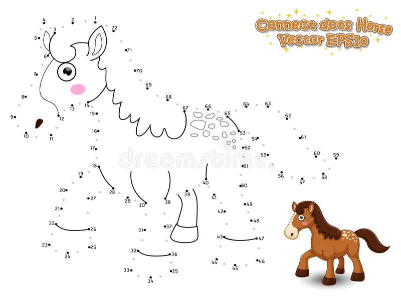 Colleghi i punti e disegni il cavallo sveglio del fumetto Gioco educativo f illustrazione vettoriale
