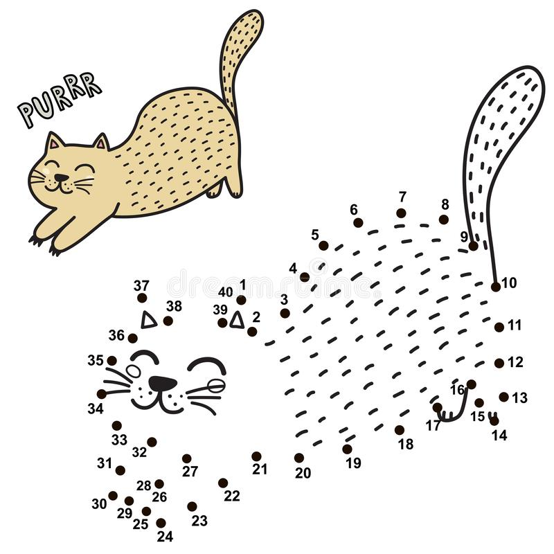 Colleghi i punti e disegni un gatto facente le fusa sveglio Gioco di numeri per i bambini illustrazione vettoriale