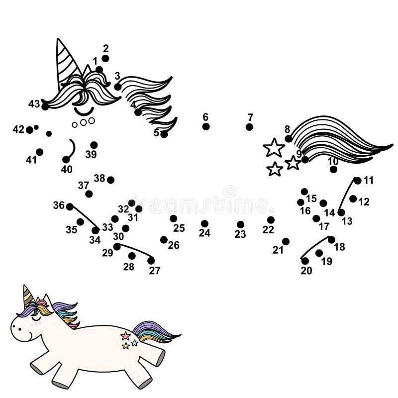 Colleghi i punti e disegni un unicorno sveglio Gioco di numeri per i bambini illustrazione di stock